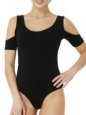 T-Shirt Body Cut-Out Blusenbody Schulterfrei Tanzbody Top Damen-Bodys KC1008B