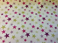 Designer 100% Cotton Funky Stars & Stripes Curtain Fabric Children Bedroom Craft