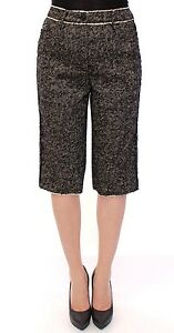 DOLCE & GABBANA Black White Linen Logo Pants Shorts IT40 /US6 /EU36 /S RRP $500
