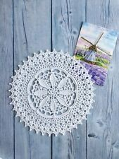 Hand crocheted lace white doily cotton handmade vintage home decor