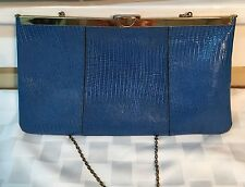 Blue Reptile LEATHER Vintage *ETRA* Framed Flat CLUTCH Purse w/Chain Handle