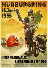 Cartellone PUBBLICITARIO NURBURGRING Eiffel CORSE MOTO PILOTA AUTO LINEA ELETTRICA Adenau 1935!!!