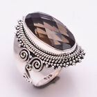 925 Solid Sterling Silver Ring US Size 7, Natural Smoky Gemstone Jewelry CR1855