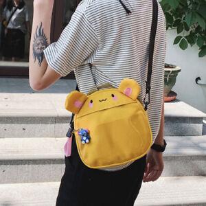 Women Cartoon Canvas Crossbody Sling Shoulder Messenger Bag Cute Handbag Wallte
