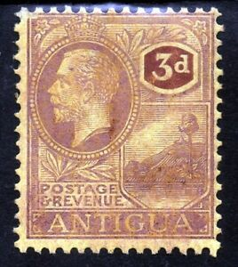 ANTIGUA1d King George V 1921-29 3d. Purple & Pale Yellow  SG 74 MINT