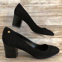 Calvin Klein Dress Pumps 9.5 Kasey Black Suede Patent Leather Heel Womens