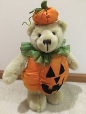 """Halloween Teddy Bear Dressed in a Pumpkin Costume Decoration 21"""" Gently Used"""
