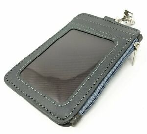 Zipper Leather Vertical ID Badge Holder with 4 card slots and Clip NEW