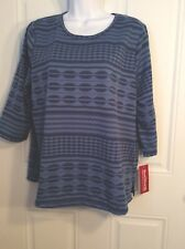 NWT BonWorth Petite Woman's Pull On Top Blue 3/4 Sleeves MP Polyester