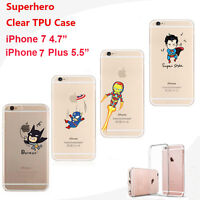 Marvel DC Superhero Soft Gel Jelly Clear Skin Case Cover For iPhone 7 / 7 Plus