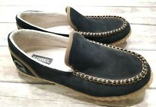 Sorel Dude Moc Moccassin Casual Slippers Slip On Shoes Black Mens Size 8.5