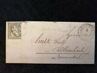 """Schweiz-Brief 1866 Bern Sitzende Helvetia """"doppelte Randlinie""""10 C Nr.28 PF."""