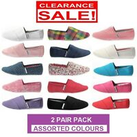 2 x WOMENS ZAPATILLA CANVAS SHOES Slip On Flats Loafers Assorted Colours SALE