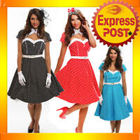 RK74 Rockabilly Polka Dot Swing Dress Black Red 50s Retro Pin Up Bridesmaid Plus