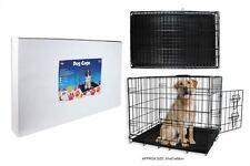 Nouveau!!! grand métal noir chien, chiot cage, lit, transporteur, transport, formation