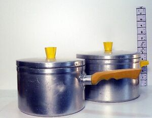 Pair of 1950s Vintage Retro Shabby Chic  Tower Brand  Aluminium Lidded Saucepans
