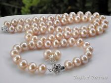 9-10mm AA+ Grade Peach Pink Cultured Pearl Set - 925 SOLID Sterling Silver