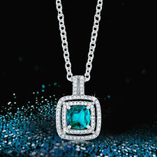 Samie Collection White Gold Plated 2.78ctw CZ Halo Pendant Necklace