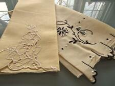 Lot 2 Vintage Mellow / Venetian Yellow Guest Towels Madeira Hand Embroidered EC