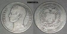 VENEZUELA. 5 BOLÍVARES PLATA año 1887. Peso actual 24,31 gr. FECHA ESCASA.