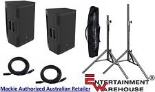 "2 x Mackie SRM550 - 12"" + Horn Powered Speaker 1600w + Stands with Bag + Cables"