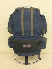 "Jansport Anatomically Curved External Frame Backpack Blue 14x32"" Fast Shipping"