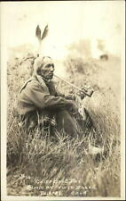Native Indian Chief Good Boy Smoking Pipe Fairfax OK Vince Dillon RPPC c1920s
