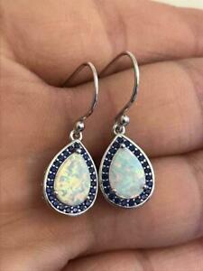 4Ct Pear Cut Fire Opal Women's Hook Drop & Dangle Earrings 14K White Gold Over