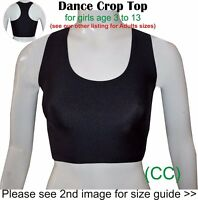 Dance Crop Top Black Girls Childrens Lycra  Gym Ballet Sports Street (CC)