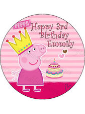 19cm Round Personalised Peppa Pig Edible ICING Birthday Cake Topper Party Deco
