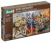 REVELL 02451 WWI INFANTRY German / British / French (1914) Plastic Soldiers 1:35