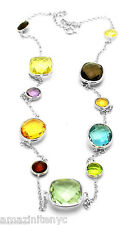 14K White Gold Necklace With Multi Shaped Faceted Gemstones 20 Inches