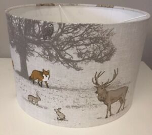 Handmade Lampshade in Fryetts Woodland Fabric, Stag, Deer, Fox, Various sizes