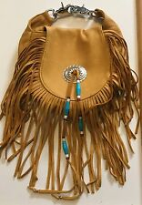 "BEAUTIFUL ""ON THE FRINGE"" Soft Leather Fringed Handbag Silver & Bead Accents"