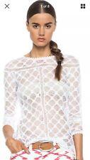 "$520 ISABEL MARANT ""POYLE DIAMON"" Crochet Lace Top FR 42 44 M L"