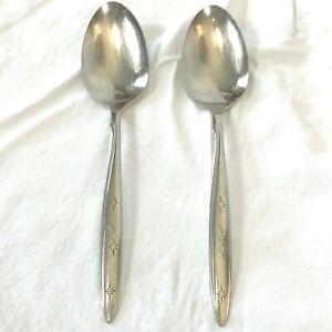 Vintage Rogers Oneida Sunburst 2 Serving Spoons Atomic Starburst Stars UT