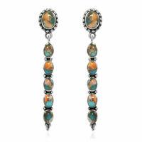Santa Fe Style 925 Silver Turquoise Drop Dangle Earrings Southwest Jewelry Ct 4
