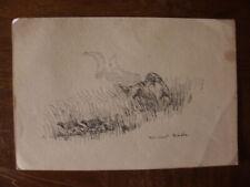 dessin plume signé Vincent Sado XX ème scène chasse cynégétique setter perdrix