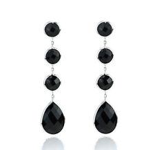 14K White Gold Dangle Earrings With Fancy Cut Onyx Gemstones