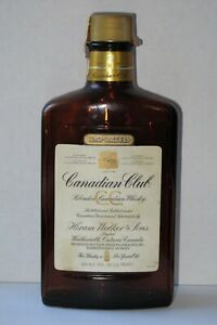 Vintage (1983) Canadian Club Whisky 375ml Empty Bottle - Flask Shape, RARE