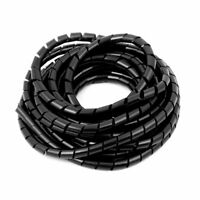 8mm Flexible Spiral Tube Cable Wire Wrap Computer Manage Cord Black 4 Meter