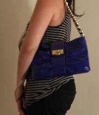 Gianni Bini Flap Blue Patent Leather Metal Chain Strap Shoulder Purse Bag