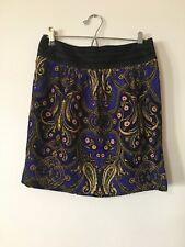 Anthropologie Cidra Skirt Purple Paisley Short Size 2 Women Corduroy Gold Black