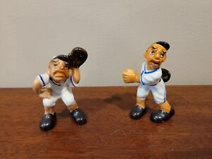 Vintage Baseball Player Figurines Pair Made In Japan Pitcher Catcher Set Of 2