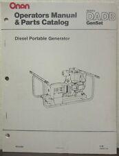 Onan DADB Series GenSet Diesel Portable Generator Operator's Manual & Parts Cat.