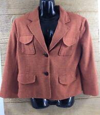 Worthington Women's Blazer Size 10 Orange Jacket Wool Blend 2 Button 3/4 Sleeve