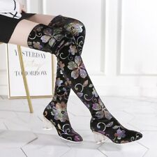 Women Sexy Pointy Toe Flowers Stretchy Over The Knee Boots Winter Heel Sexy Shoe