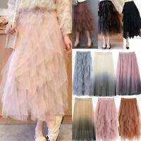 Women Double Layer Chiffon Pleated Long Maxi Dress Elastic Waist Beach Skirt US