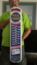 """Mail Pouch Chew sign with Thermometer 8"""" x 38 3/4"""""""