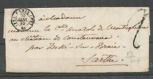 29 Janvier 1849 Lettre Cachet ( FS ) PARIS ( FS) 60 Bureau supplémentaire X3154